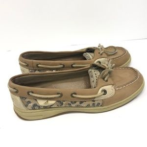 Sperry Top Sider Leopard Cheetah Tan Boat Shoes